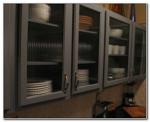 Reeded Glass Kitchen Cabinets