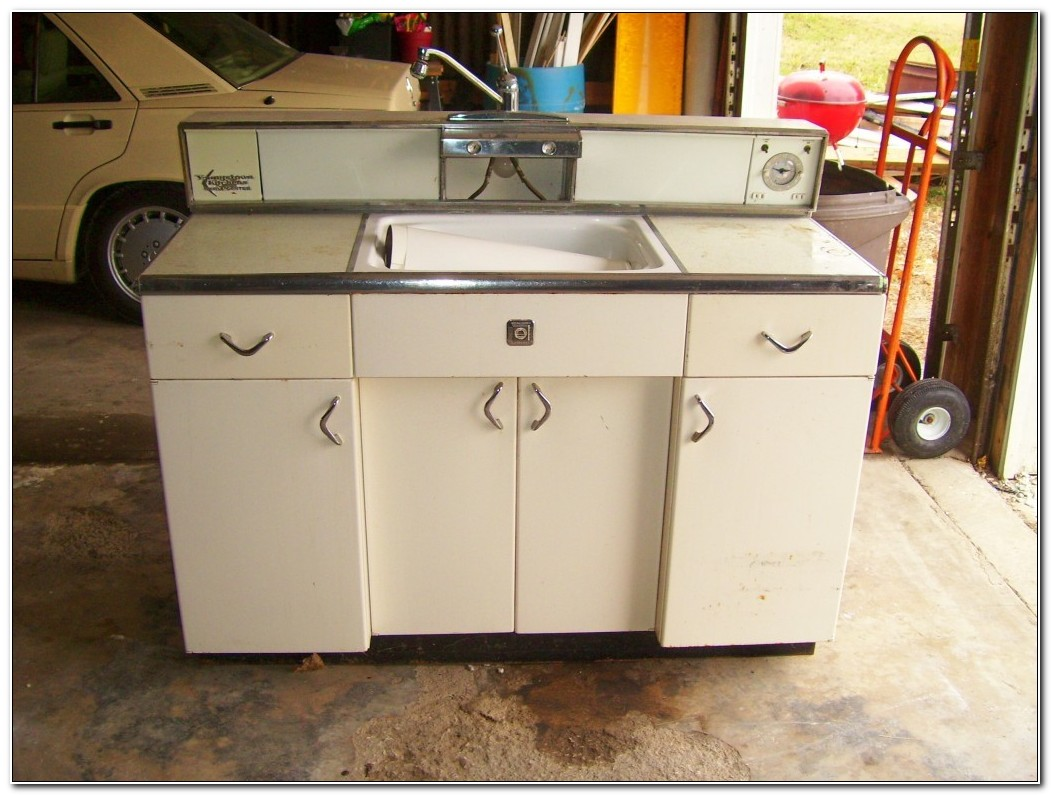 Retro White Metal Kitchen Cabinets