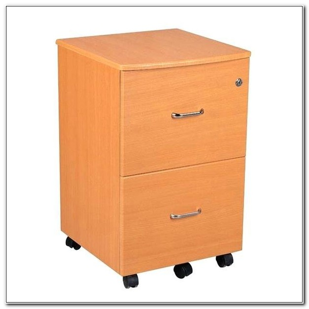 Rolling Two Drawer Filing Cabinet Wood