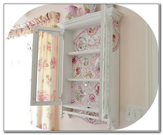 Shabby Chic Wall Cabinet With Glass Doors