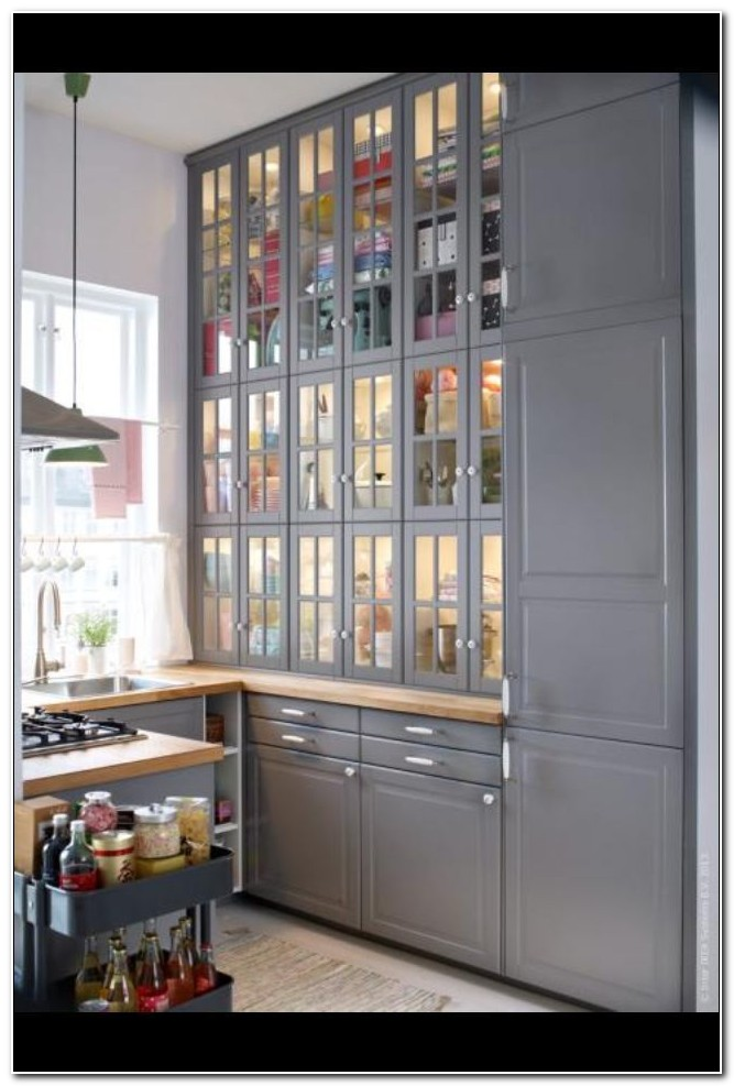 Shallow Wall Cabinet With Glass Doors