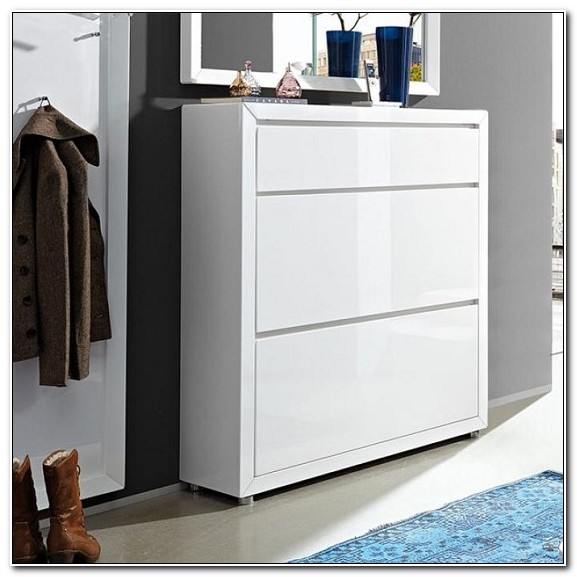 Shoe Cabinet White Gloss