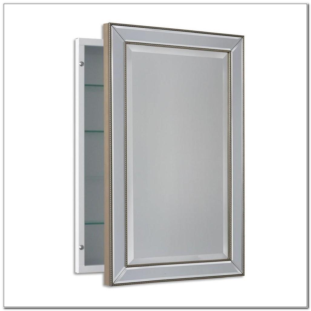 Silver Framed Recessed Medicine Cabinet