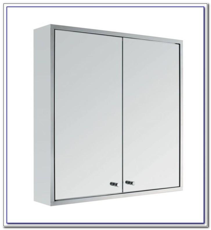 Slatted 3 Door Mirrored Bathroom Cabinet
