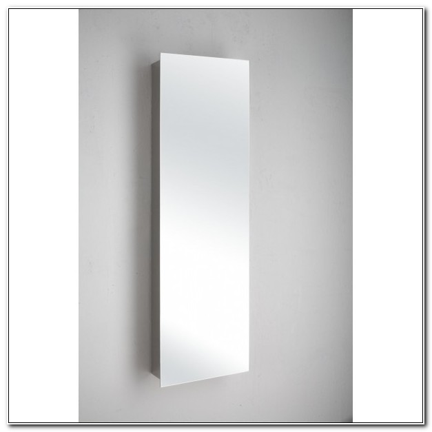 Slim Mirrored Bathroom Wall Cabinet