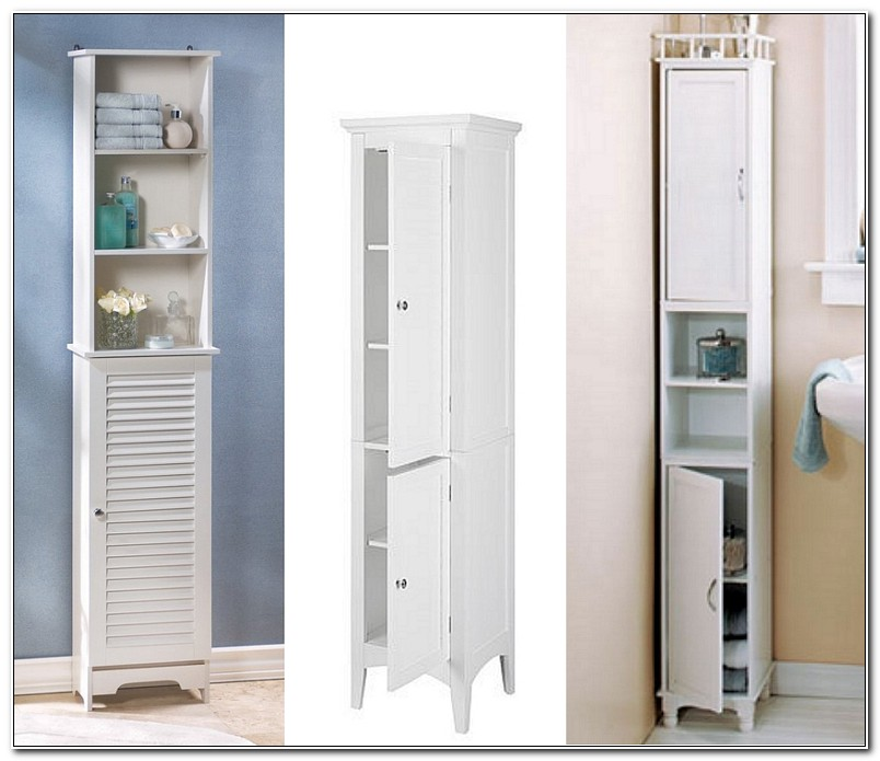 Slim White Bathroom Storage Cabinet