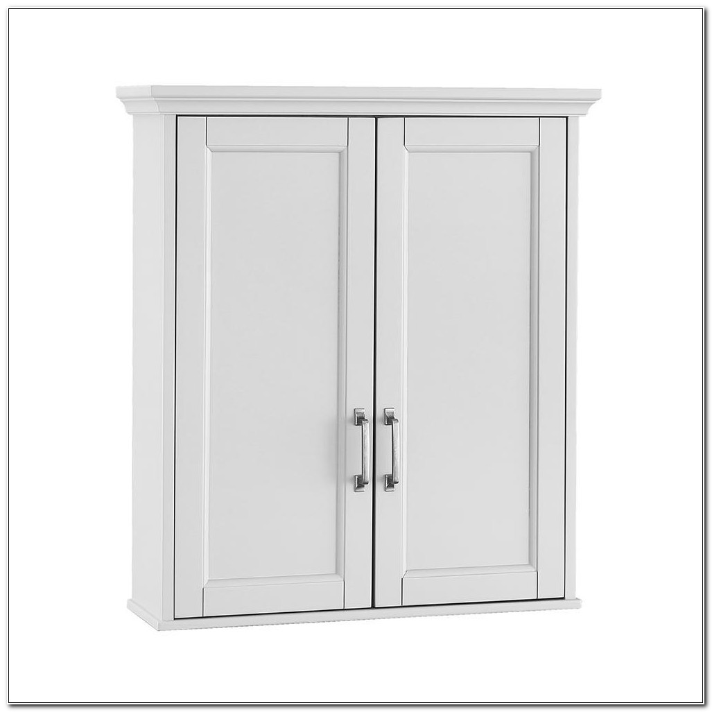 Slim White Bathroom Wall Cabinet