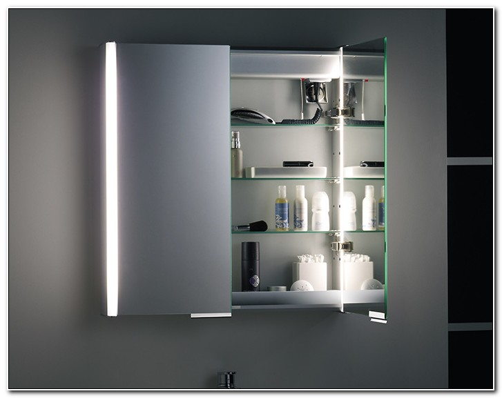 Slimline Bathroom Mirror Cabinet With Shaver Socket