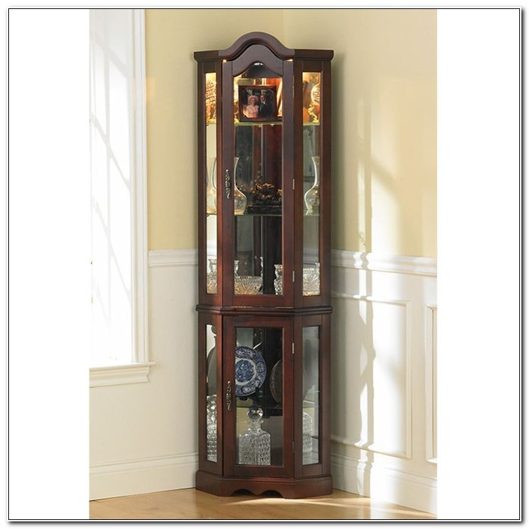 Small Lighted Corner Curio Cabinet