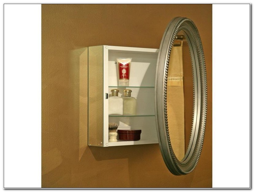 Small Oval Recessed Medicine Cabinet
