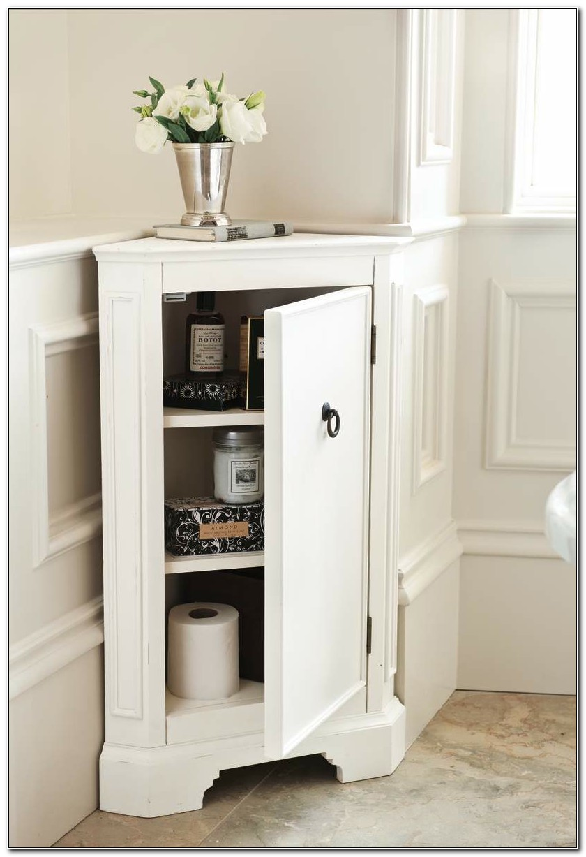 Small White Corner Bathroom Cabinet