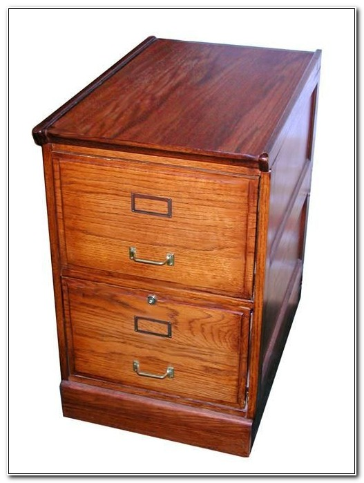 Solid Dark Wood Filing Cabinet