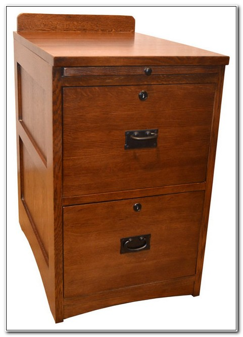 Solid Oak 2 Drawer File Cabinet