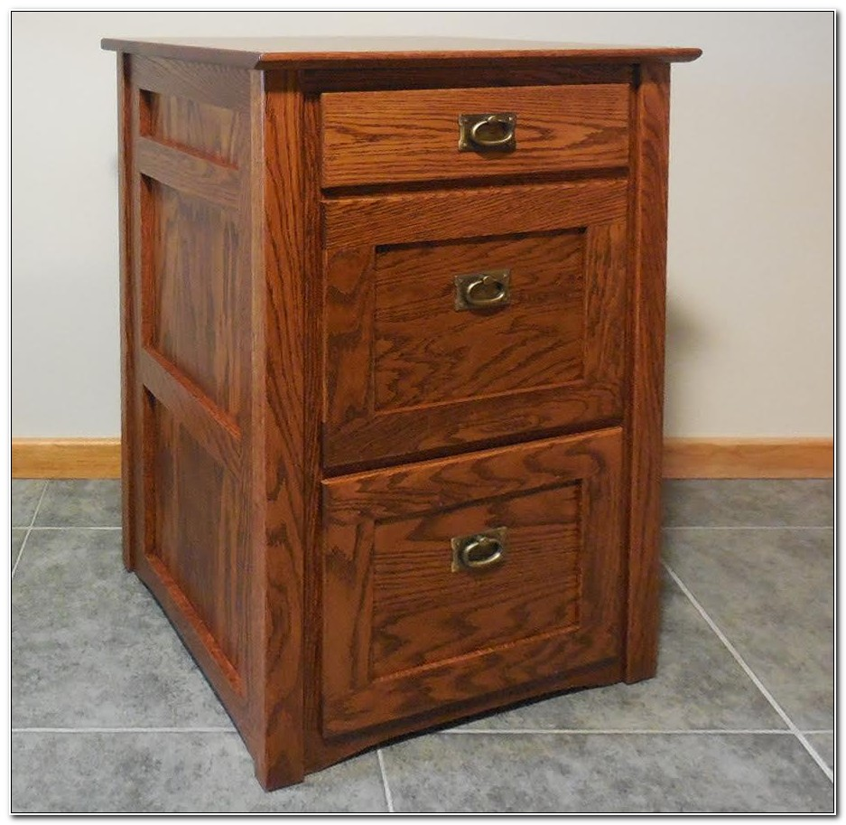 Solid Oak 3 Drawer Filing Cabinet