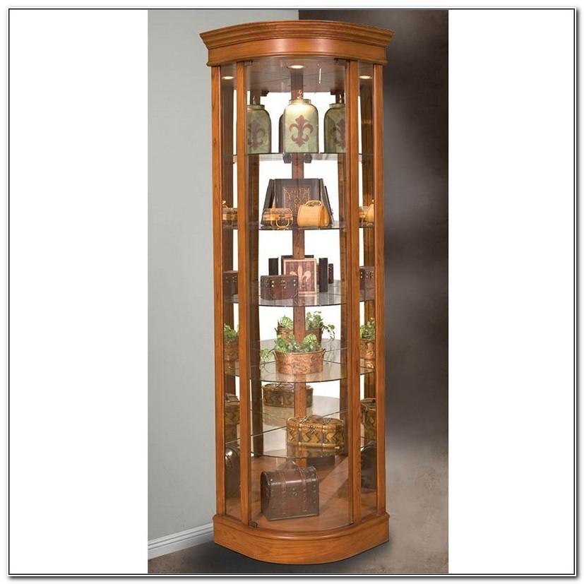 Solid Oak Corner Curio Cabinets
