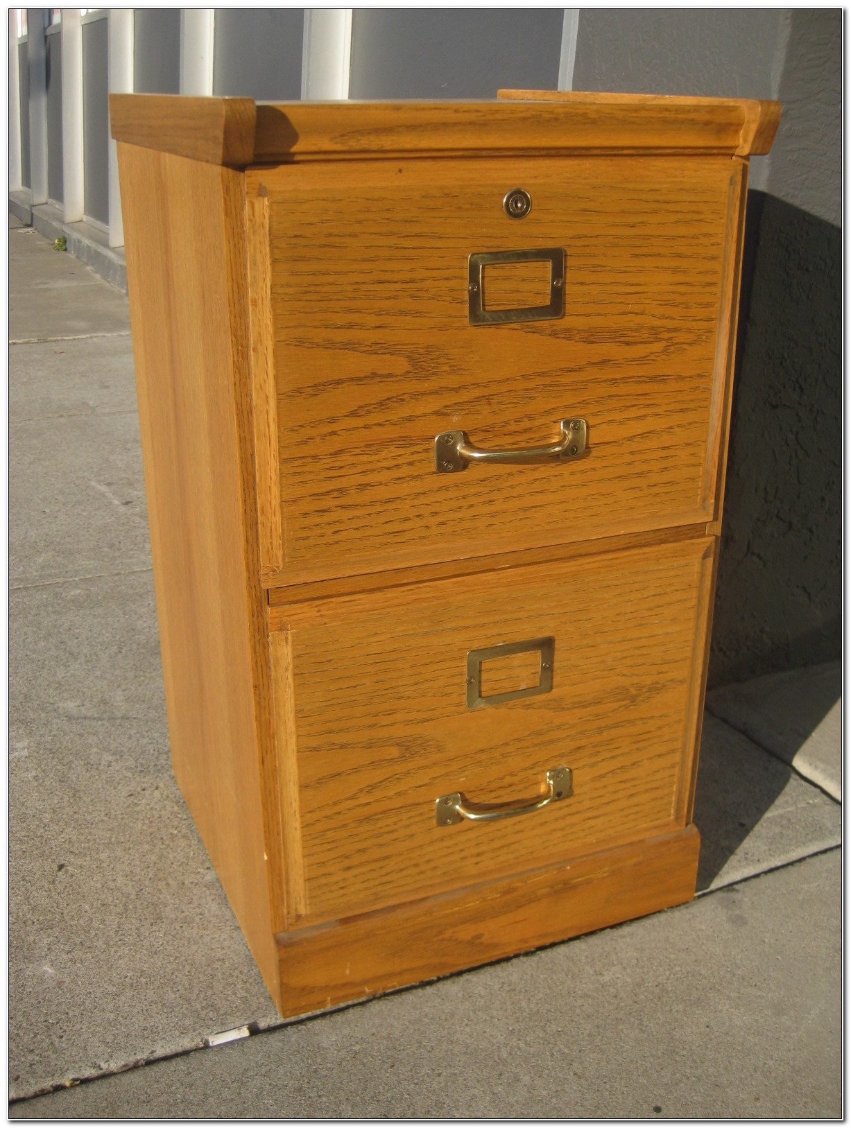 Solid Oak Filing Cabinet 2 Drawer