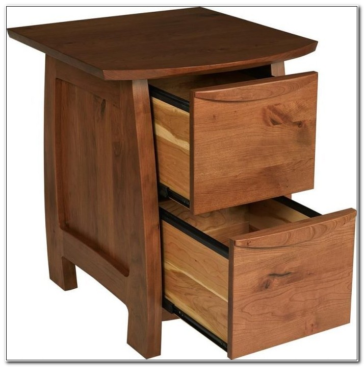 Solid Wood 2 Drawer File Cabinet