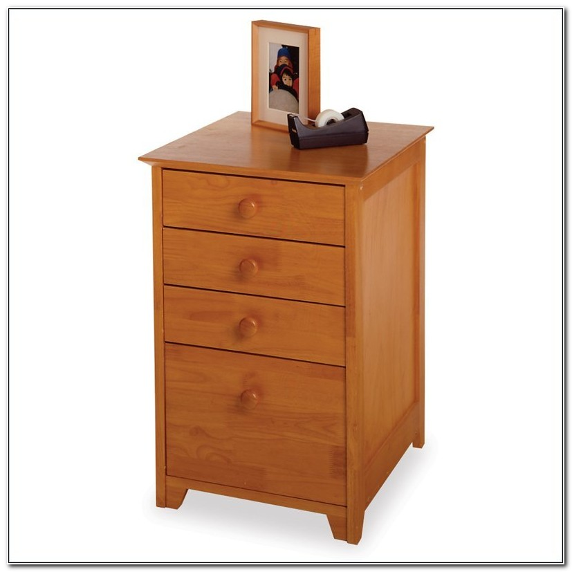 Solid Wood 4 Drawer File Cabinet