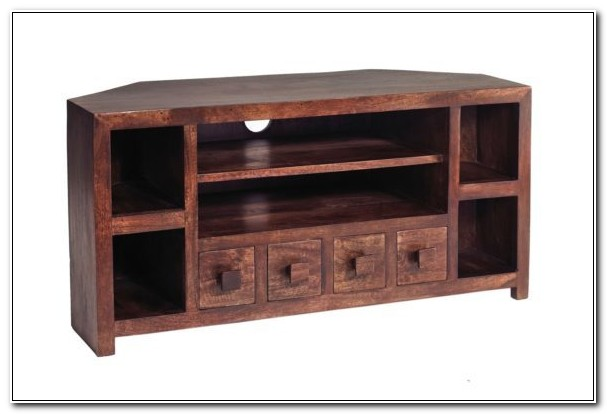 Solid Wood Corner Media Cabinet