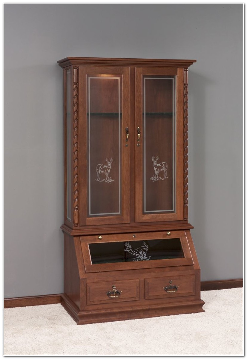 Solid Wood Gun Cabinet Gun Storage