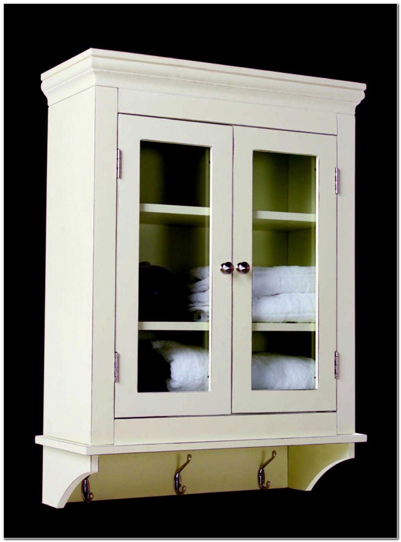 Solid Wood White Bathroom Wall Cabinet
