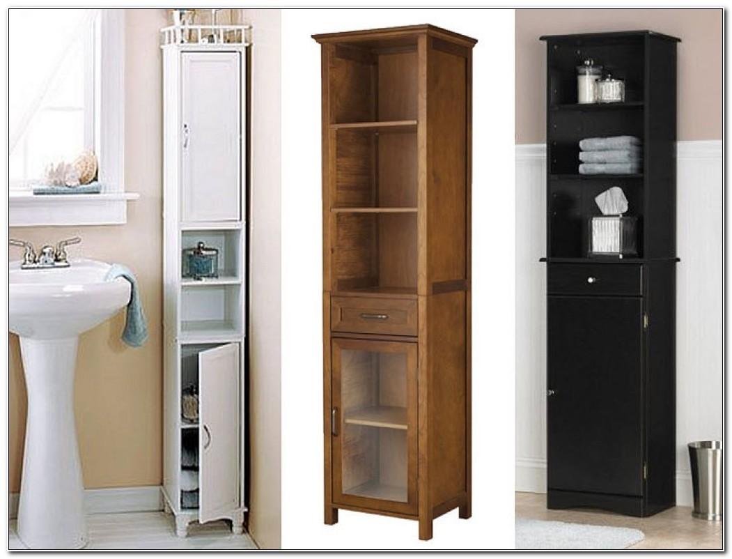 Tall Slim White Bathroom Cabinets