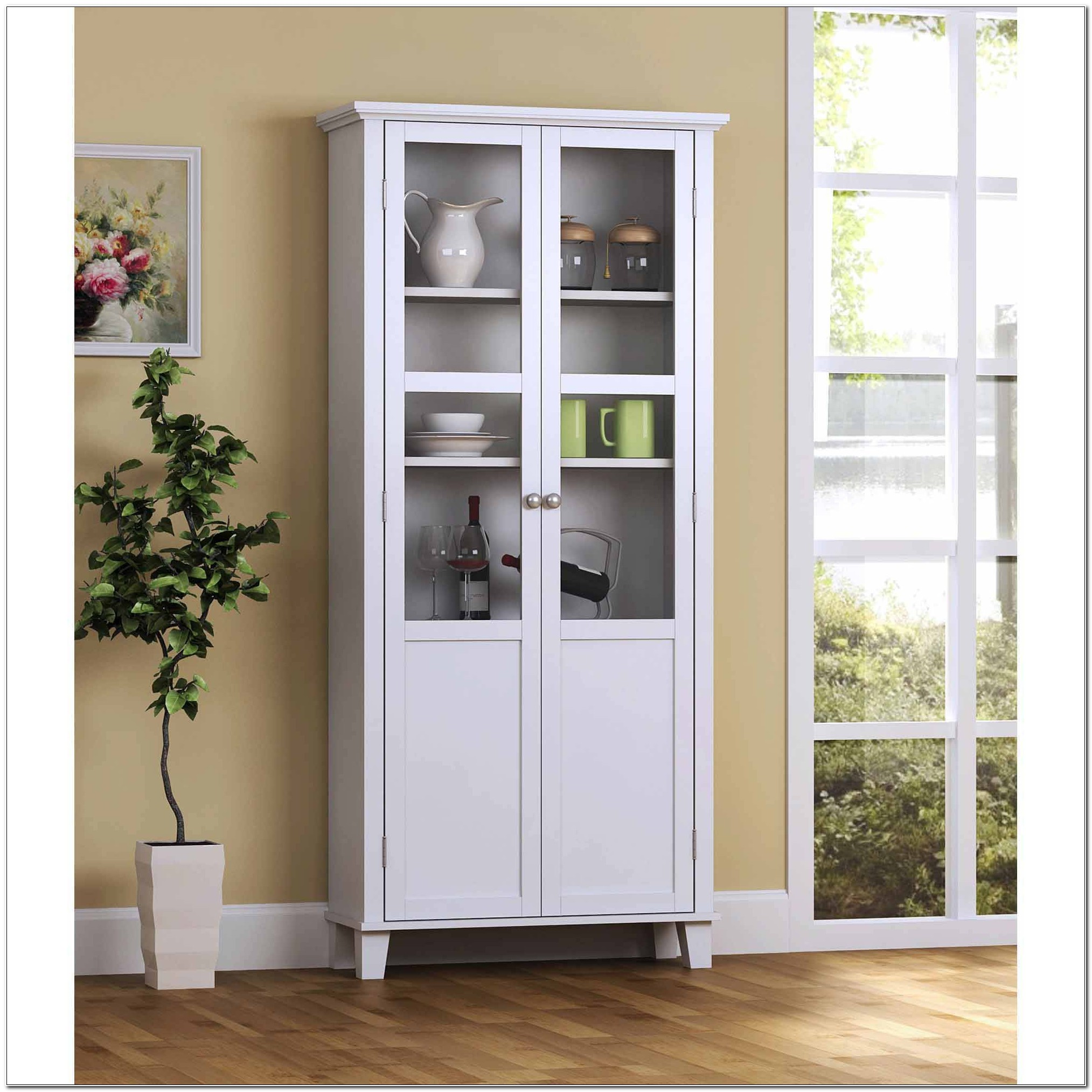 Tall Storage Cabinet With Glass Doors