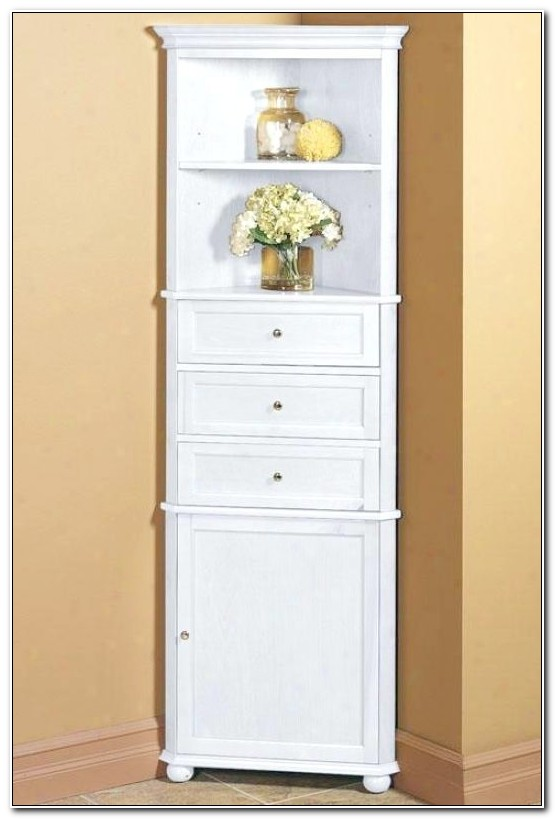 Tall White Corner Bathroom Cabinet