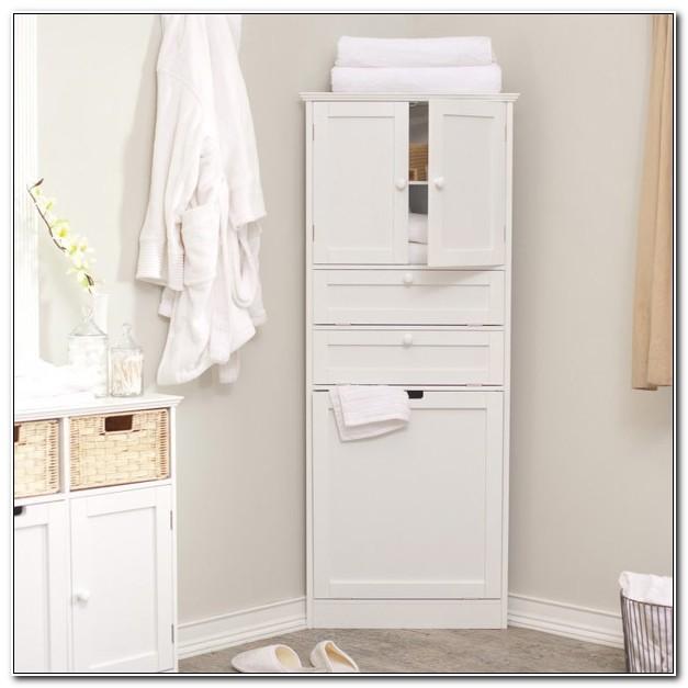 Tall White Corner Cabinet For Bathroom