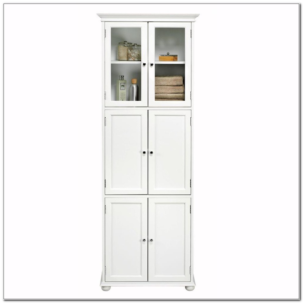 Tall White Linen Storage Cabinet