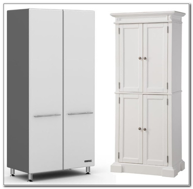Tall White Wood Storage Cabinets