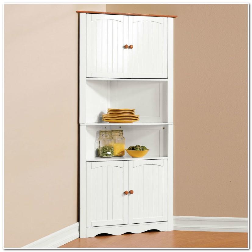 Tall Wood Corner Storage Cabinet