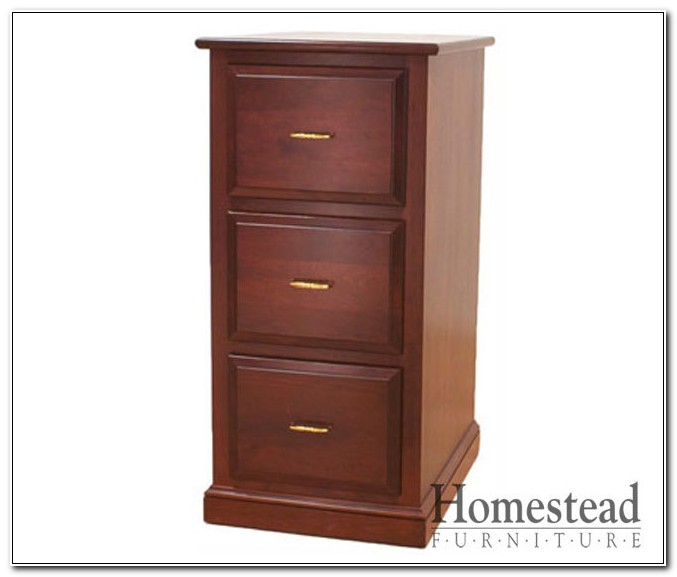 Three Drawer Wooden Filing Cabinet