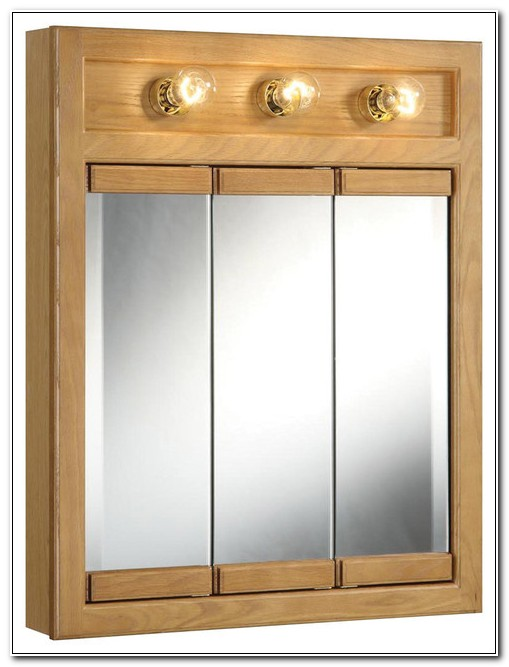 Tri View Mirrored Medicine Cabinet With Lights