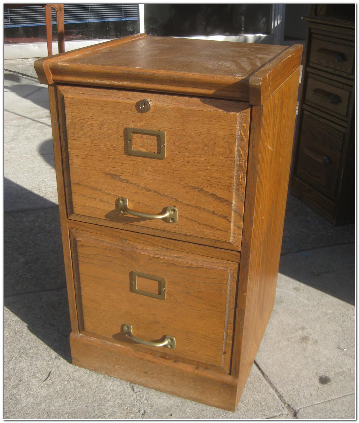 Two Drawer Wood File Cabinet With Lock