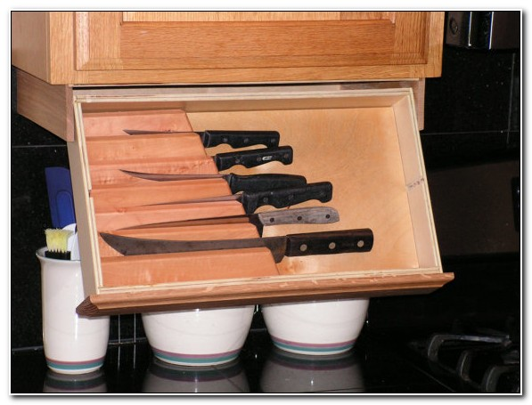 Under Cabinet Knife Storage Drop Down