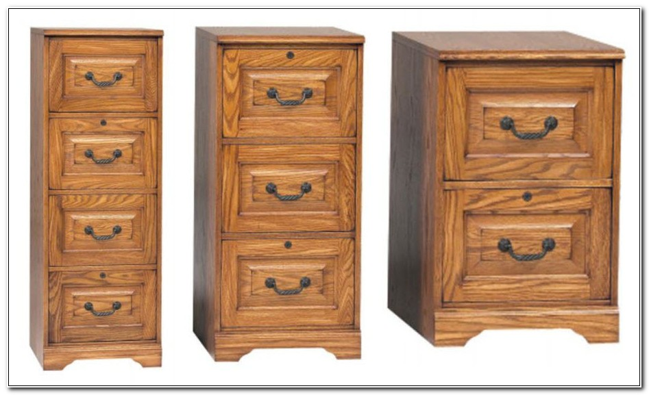 Used Wooden 4 Drawer File Cabinet