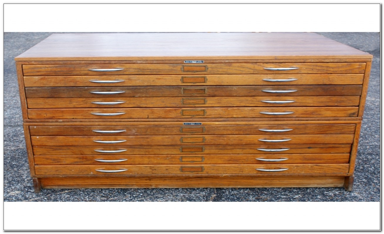 Used Wooden Flat File Cabinet