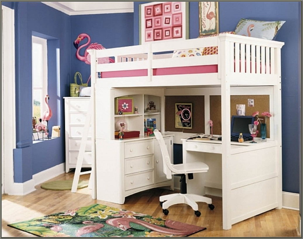 A Bunk Bed With A Desk Underneath
