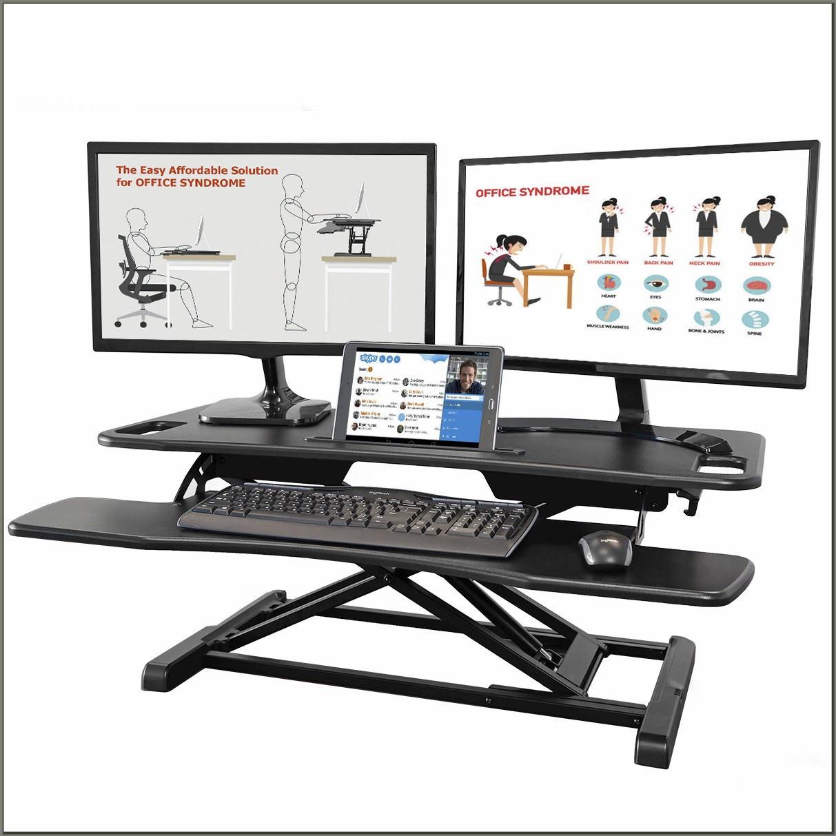 Adjustable Standing Desk Converter Dual Monitor