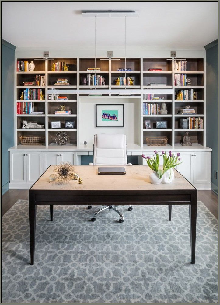 Built In Bookshelves With Desk