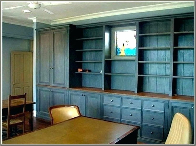 Built In Office Desk And Shelves