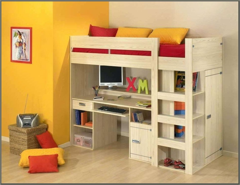 Bunk Bed With A Desk Under It