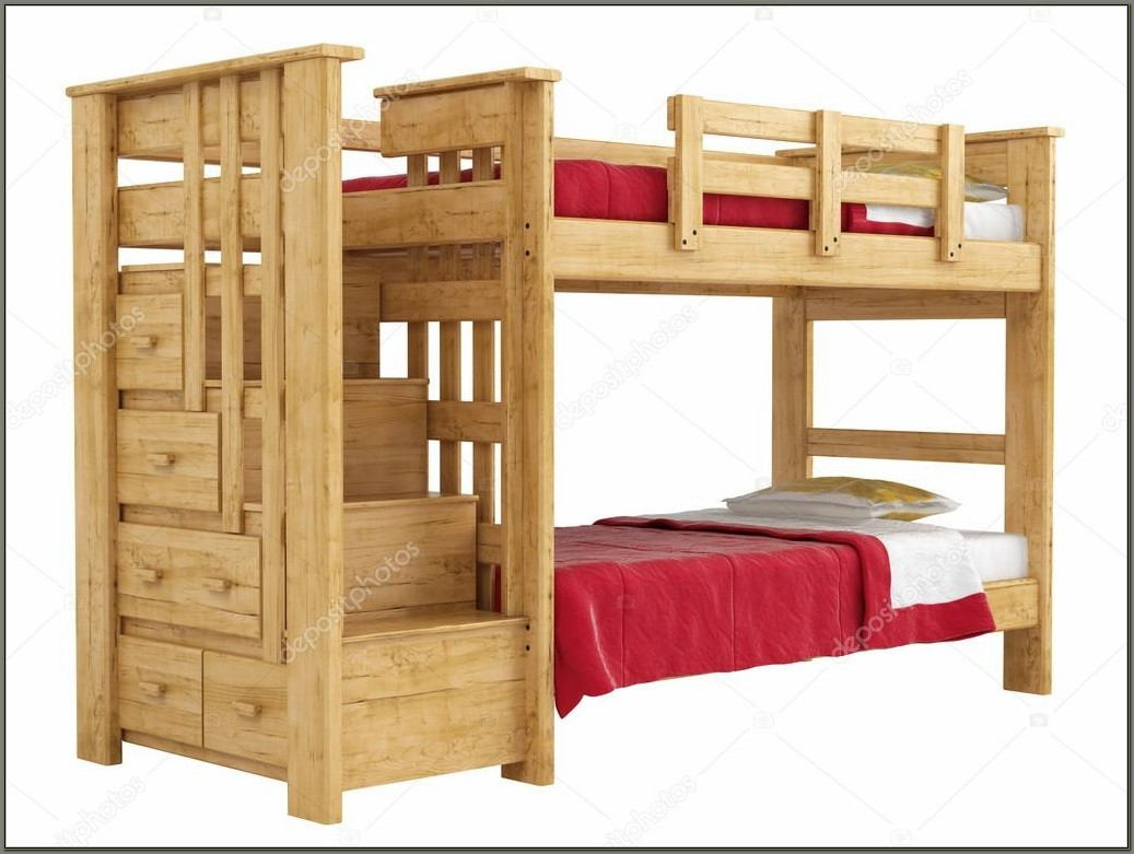 Bunk Bed With Desk And Stairs Plans