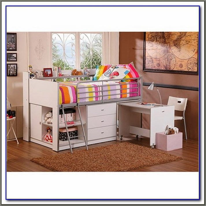 Charleston Storage Loft Bed With Desk White