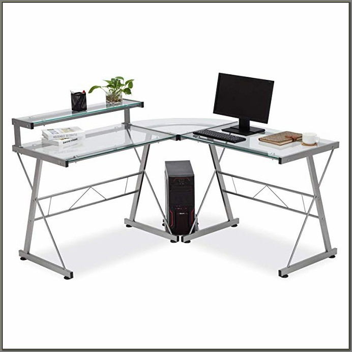 Corner Computer Desk With Printer Shelf