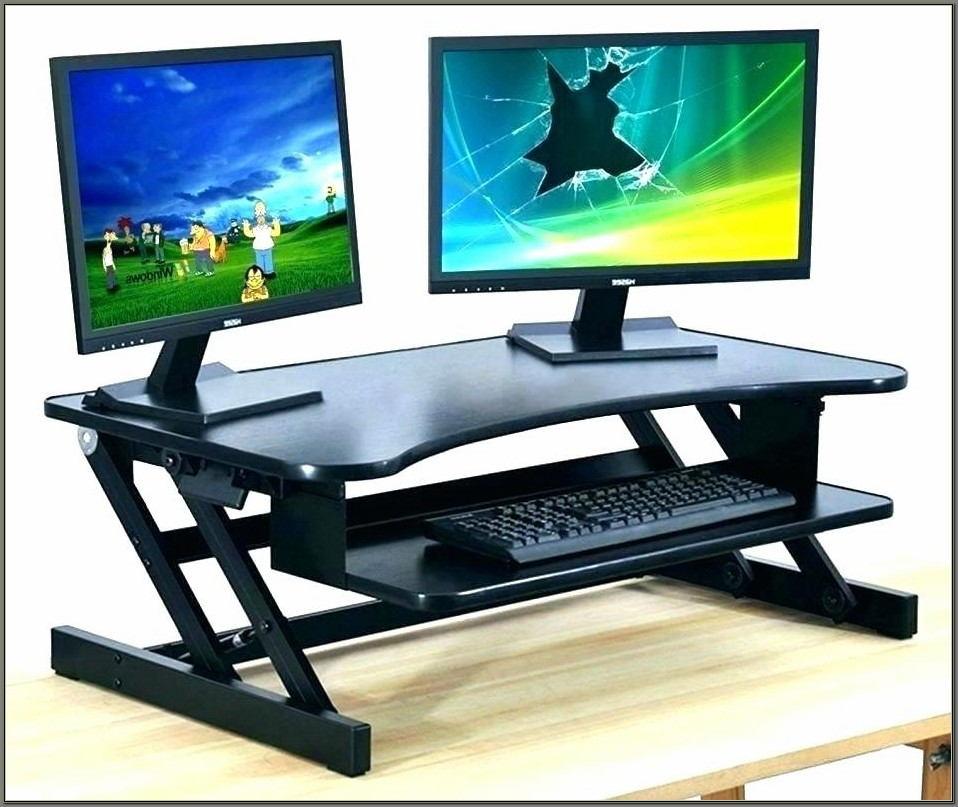 Desk With Raised Monitor Shelf