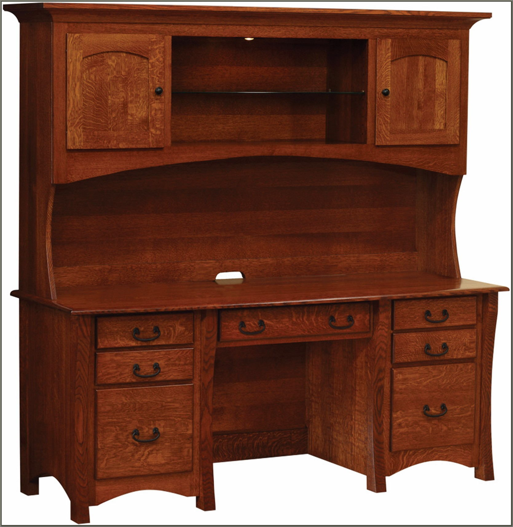 Double Pedestal Desk With Hutch
