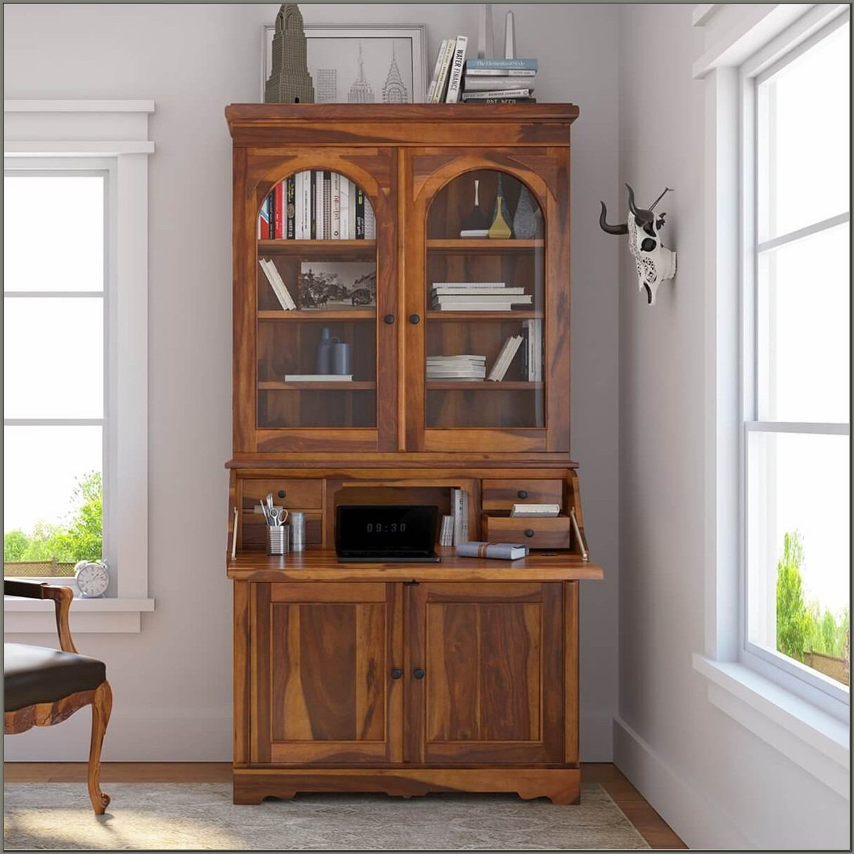 Drop Front Secretary Desk With Hutch