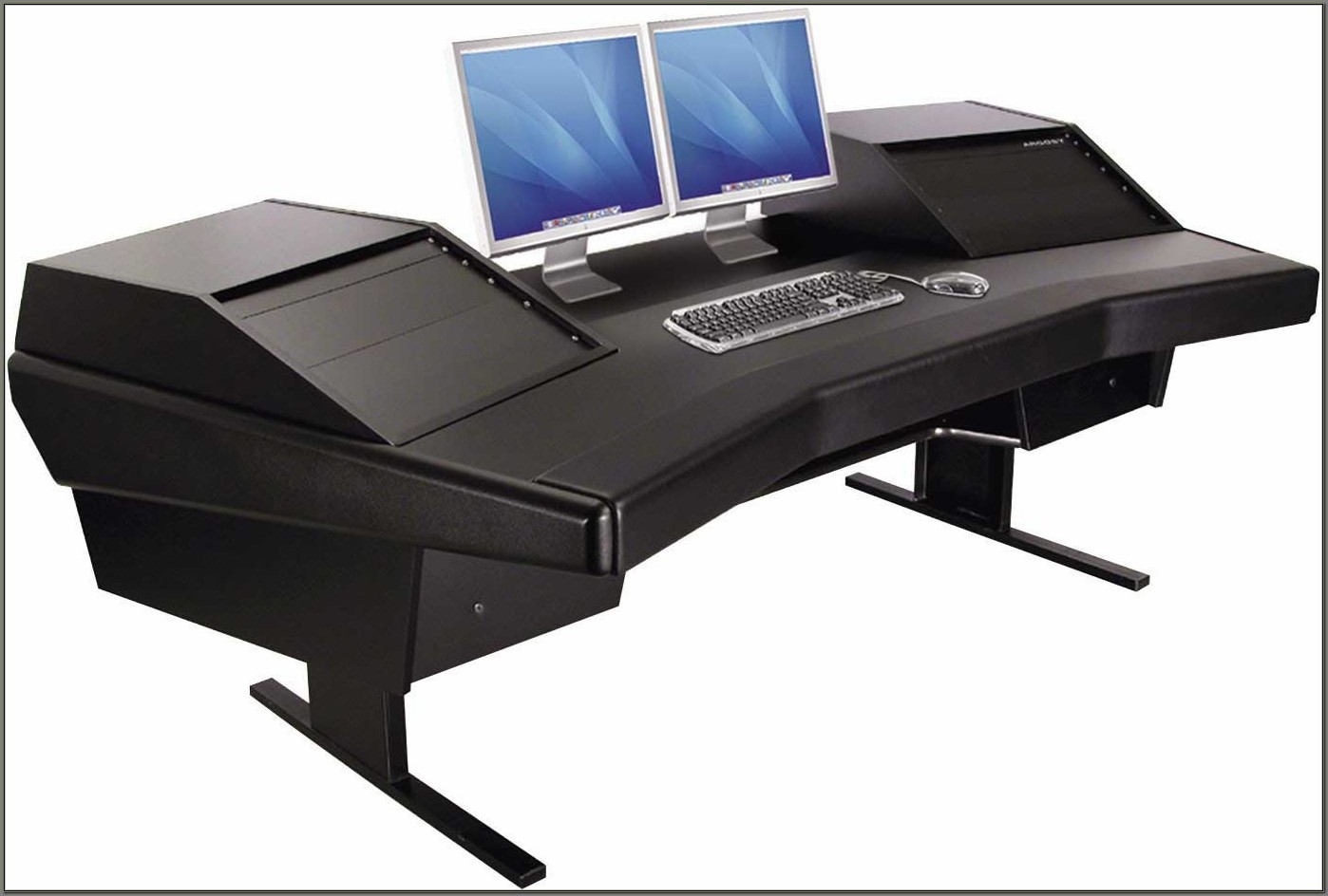 Dual Monitor Computer Desk With Storage